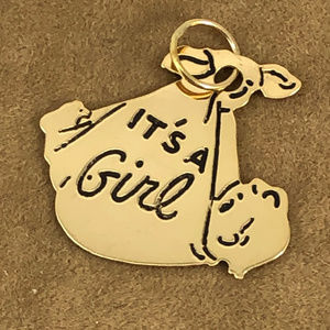 "Vintage 14 Karat solid Gold ""It's A Girl""  Charm"